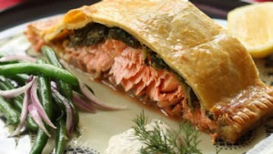 Salmon and spinach en croute with dill creme fraiche.