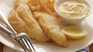 Flathead fillets with tempura batter.