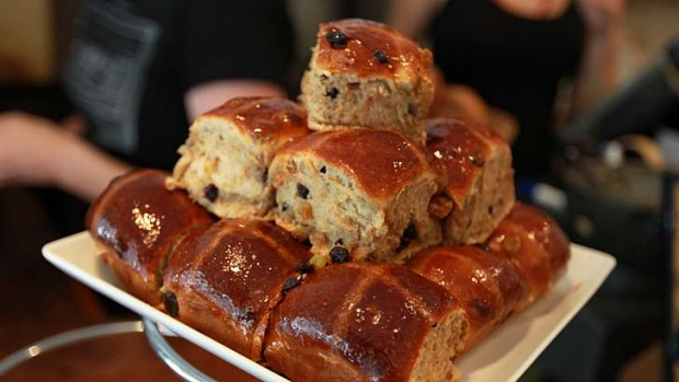Health fad: Frankincense-glazed hot cross buns from Black Star Pastry.