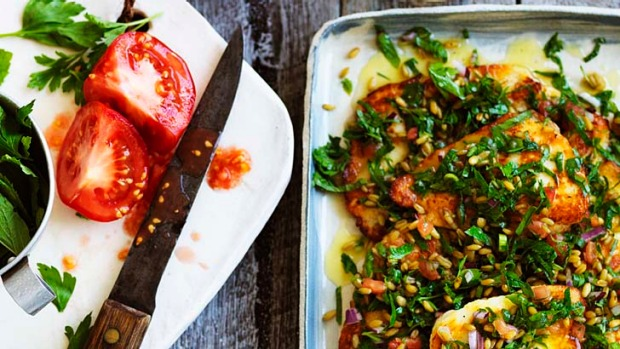 Farro and haloumi salad - choose your grain and add extra spices to make it your own.