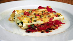 Leeks, spinach and ricotta cannelloni.