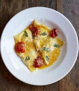 Ricotta ravioli with cherry tomatoes at Sagra in Darlinghurst.
