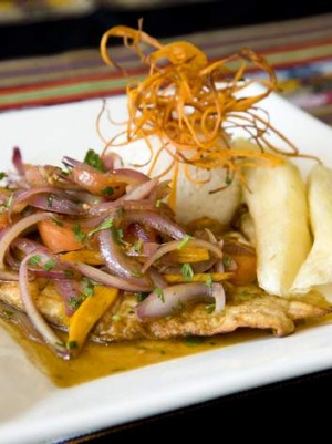 Pescado a la chorrillana, pan fried dory fillet with caramelised onion.