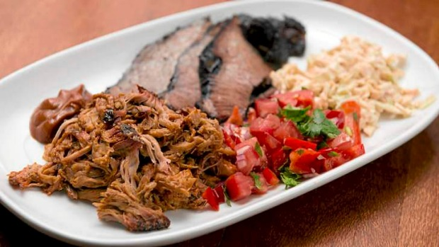 Hudson Corner's barbecue combo plate: pulled pork, brisket, slaw and Tex-Mex salsa.