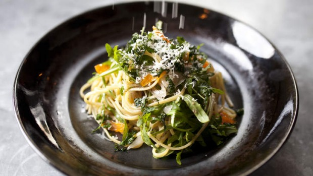 The all-day brekkie menu ranges into lunch, including this super-rich goat butter linguine with cured egg yolk, chilli ...