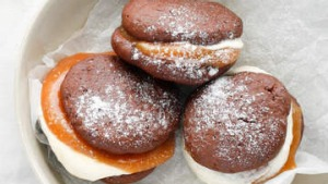 Chocolate whoopie pies with salted caramel.