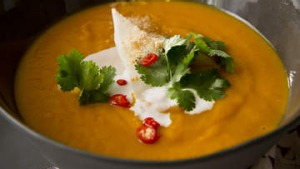 Thai-inspired roast pumpkin soup.