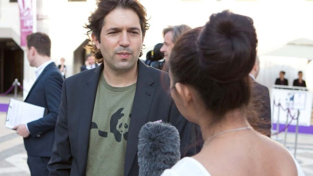 In London for the ceremony ... Attica's Ben Shewry is interviewed on his way into the World's 50 Best Restaurants 2014 ...