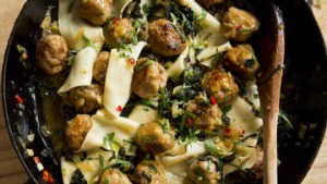 Pappadelle with black cabbage and meatballs.