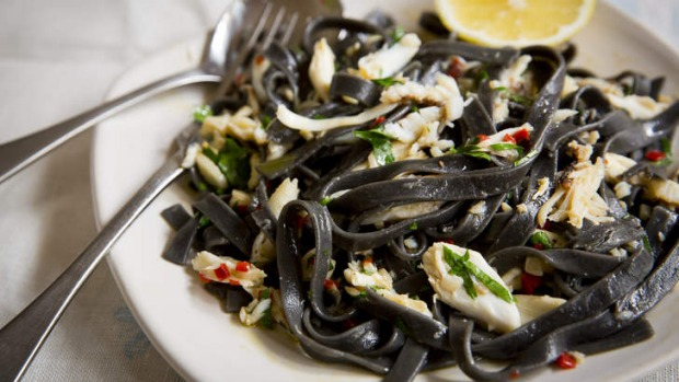 Crab, chilli, garlic, wine are all you need to compliment this squid ink fettuccine.