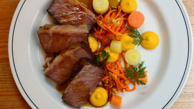 Dinner: Beef brisket with carrot salad.