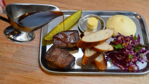Lunch: Beef brisket barbecue meat tray.