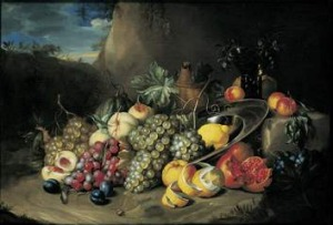 A still life by Alexander Coosemans, Flanders, 1627-1689,  painted about  1650.