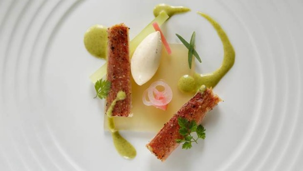 Cucumber and tomato, charred eel and sweet aniseed.