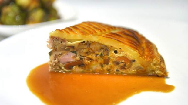 Pheasant pithiviers padded with pine mushroom and chestnuts.