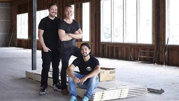 Melrose place: David Combes, Grant Smillie and Louis Tikaram at the site of their new Los Angeles restaurant, EP.