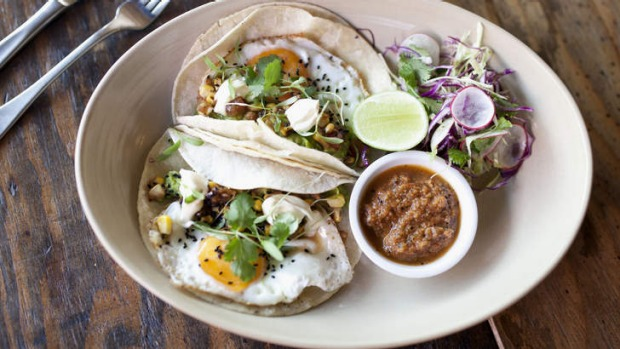 The Mexican: Fried eggs, tortillas and tomatillo salsa.