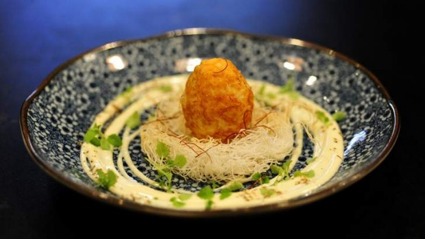 Condor egg: Soft boiled egg deep-fried and served on kataifi nest.