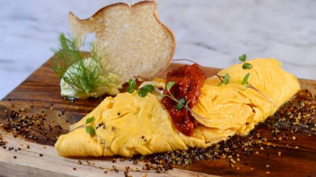 Smoked salmon omelette and truffle creme fraiche.