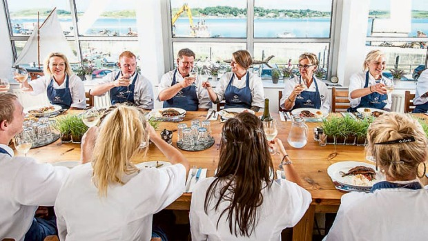 Food with a view ... A class at the Padstow Seafood School.