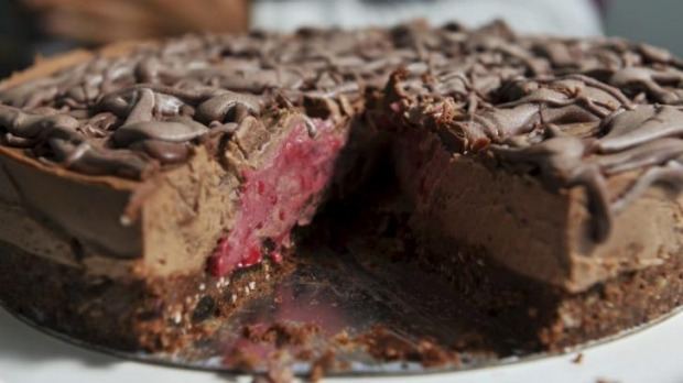 Raspberry chocolate paleo cake.