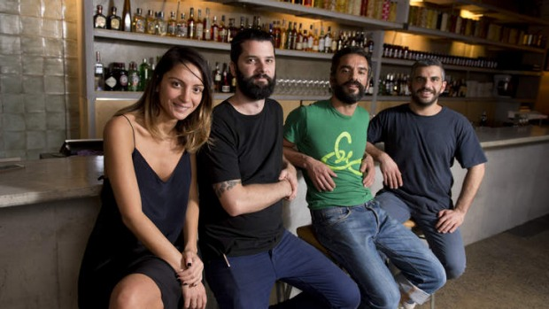 From left: Co-owner Katie Moubarak, chef Ben Williamson, and co-owners Elie Moubarak and Johnny Moubarak at Gerard's Bar.