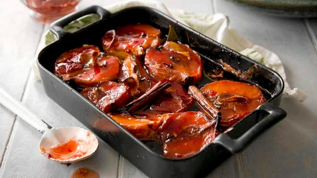 Slow roasted quinces with honey cinnamon and cloves recipe good food slow roasted quinces with honey cinnamon and cloves forumfinder Choice Image