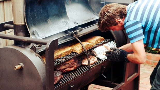 Chris Terlikar gets smokin' on his home-made BlueBonnet Barbecue.