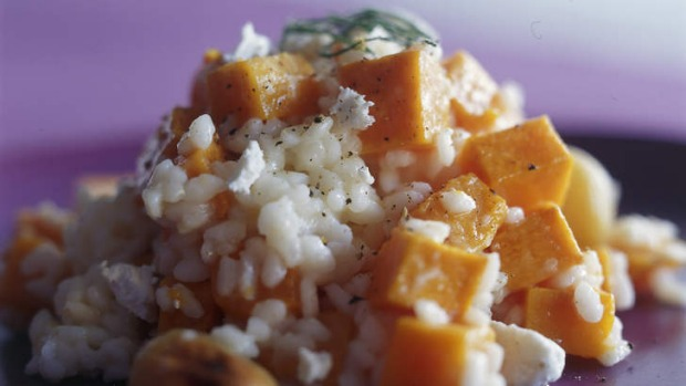 Make the most of seasonal pumpkin with this goat's cheese risotto.
