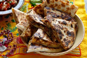 Quesadillas with potato and chorizo.