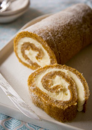 If Swiss roll is a favourite of yours, try this moist, sweetly spiced version.