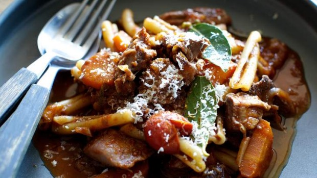 On the up: Goat ragu with red wine.