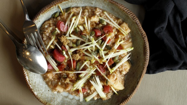 Five-grain porridge topped with apple shards and rhubarb at Pinbone cafe.