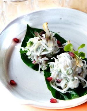 Uncle's hapuku betel leaf with chilli coconut and pomegranate.
