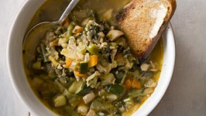 Chicken and barley vegetable soup.