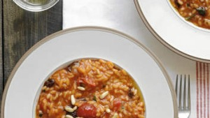 Risotto with tomato, anchovy and raisins.