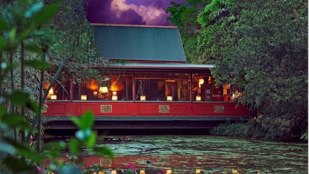 Beautiful appeal: Diners sit in tranquil garden sanctuaries on five acres of tropical gardens.