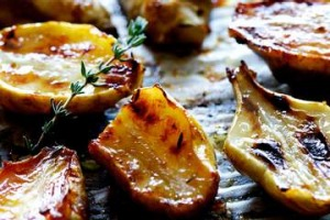 Honey-roasted Jerusalem artichokes.