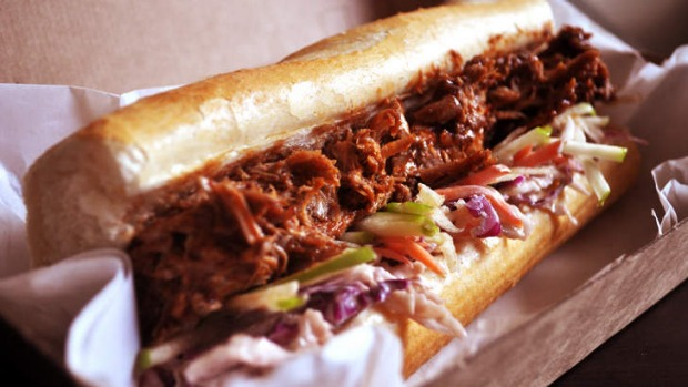 Delivered to your door ... The pulled pork baguette from Bourbon Street.