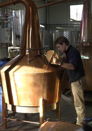 One of Lark Distillery's copper stills.