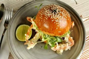 Top shelf: Soft shell crab brioche roll at Top Paddock.
