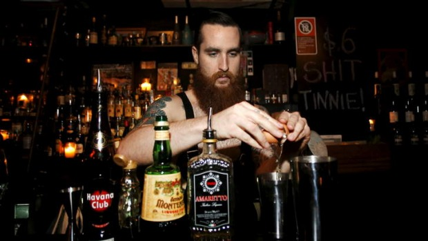 Tatts and chat: Charlie prepares a cocktail that could have you rambling.