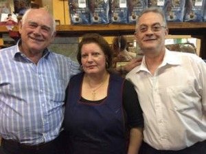 Co-owner Nino Pangrazio (left) with long-time staff Maria (cook) and Paul (barista).
