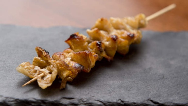 Free-range chicken skin at Bird's Nest Yakitori.