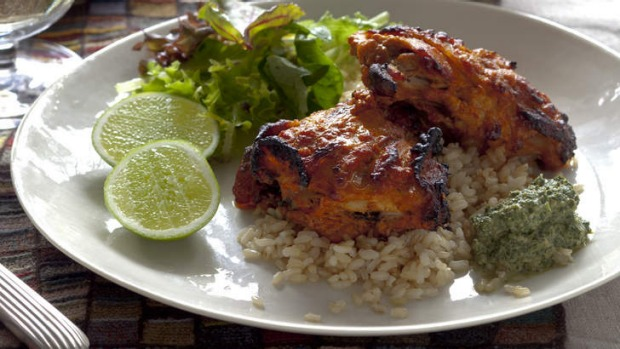tandoori chicken with mint yoghurt sauce recipe good food. Black Bedroom Furniture Sets. Home Design Ideas