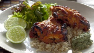 Tandoori chicken with mint yoghurt.