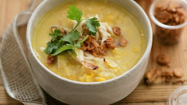 Bowl o' goodness: Chicken and sweetcorn soup.