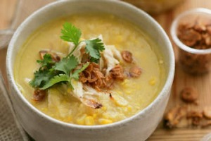Chicken and sweetcorn soup.