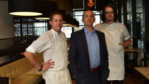 From left: Head chef George Fowler, Gavin Baker and pastry chef Shaun Quade inside Chiara.