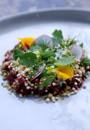 Chef Aaron Teece's wallaby and wild weeds such as warrigal greens and fennel flowers.